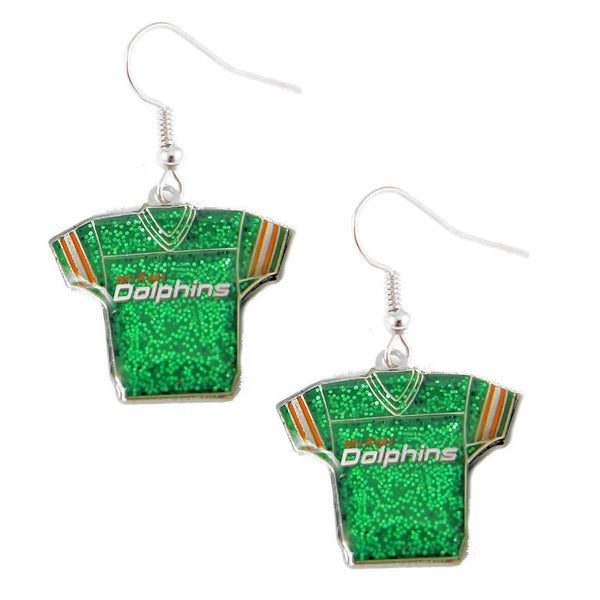 MLB Miami Dolphins Glitter Jersey Dangle Earring Set Charm Gift