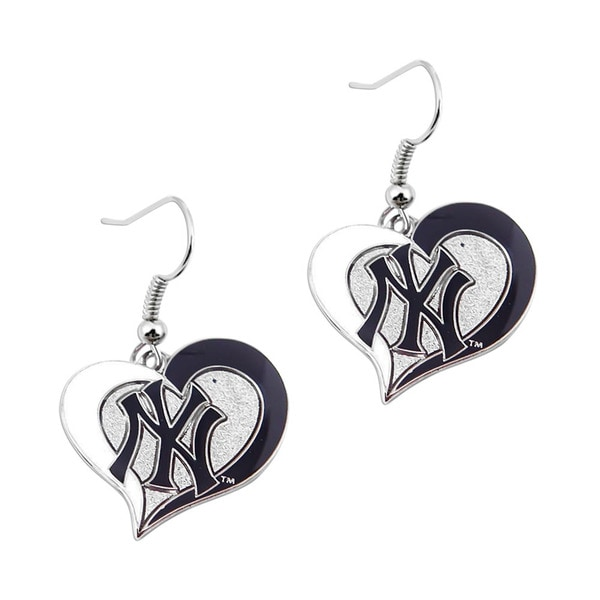 New York Yankees MLB Swirl Heart Dangle Logo Earring Set Charm Gift