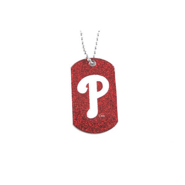 Philadelphia Phillies MLB Dog Fan Tag Glitter Necklace
