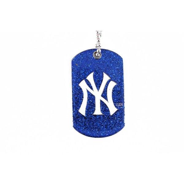 New York Yankees NBA Dog Fan Tag Glitter Necklace