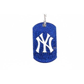 New York Yankees NBA Dog Fan Tag Glitter Necklace