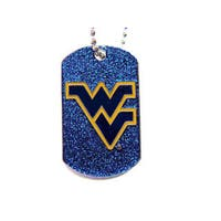 West Virginia Mountaineers NCAA Dog Fan Tag Necklace Glitter Sparkle