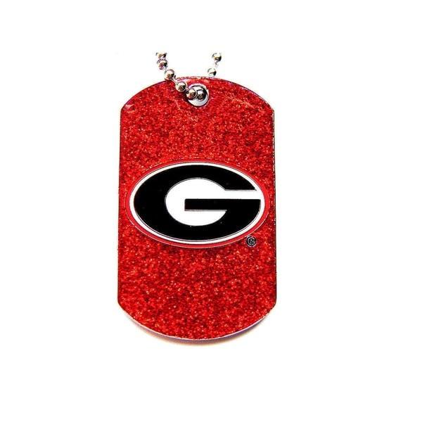 Georgia Bulldogs NCAA Dog Fan Tag Necklace Glitter Sparkle