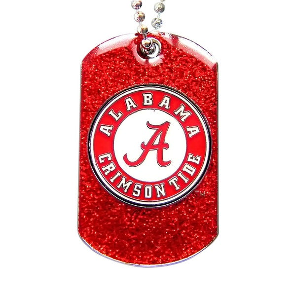 Alabama Crimson Tide NCAA Dog Fan Tag Glitter Sparkle Necklace