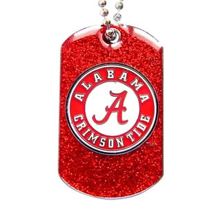 Alabama Crimson Tide NCAA Dog Fan Tag Glitter Sparkle Necklace