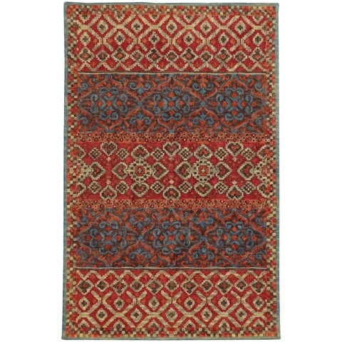 Tommy Bahama Jamison Red/ Blue Wool Area Rug - 8'x10'