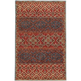 Tommy Bahama Jamison Red/ Blue Wool Area Rug (8'x10') - 8' x 10'