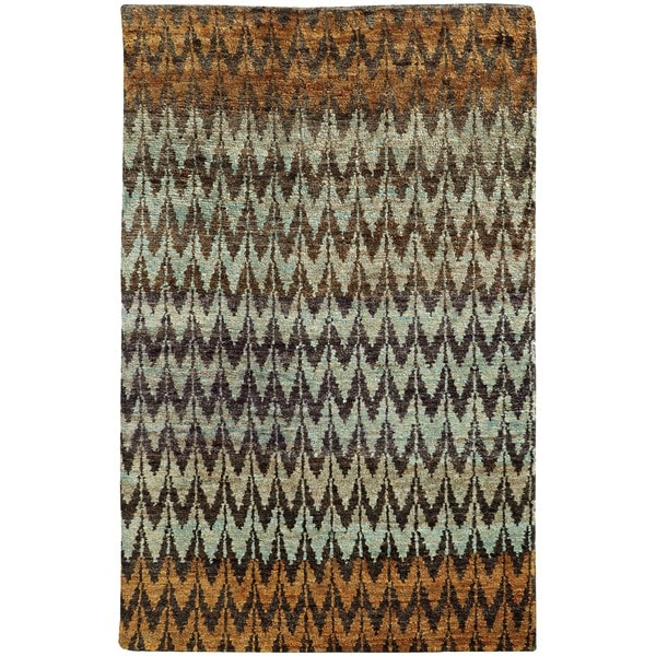 Tommy Bahama Ansley Brown and Blue Jute Area Rug (8' x 10') - 8' x 10'