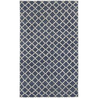 Tommy Bahama Maddox Trellis Navy/ Ivory Wool Area Rug (8' x 10') - 8' x 10'