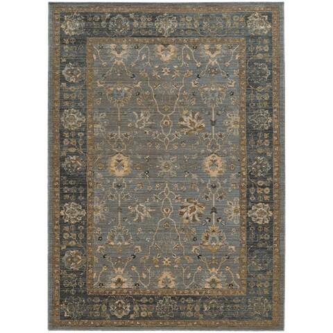 Tommy Bahama Vintage Blue/Beige Wool Area Rug - 7'10 x 10'10