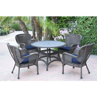 Jeco 5-piece Windsor Espresso Wicker Dining Set With Cushions