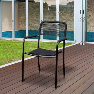 Atlantic Curry Black Aluminum Patio Dining Chairs (Set of 4)