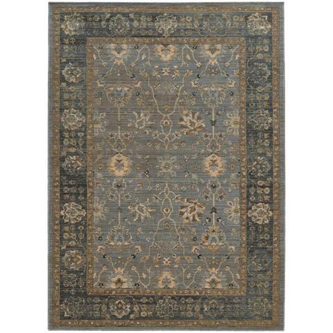 "Tommy Bahama Vintage Bordered Traditional Wool Area Rug - 9'10"" x 12'10"""