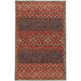 Tommy Bahama Jamison Red/Blue Wool Area Rug (5' x 8')