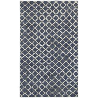 Tommy Bahama Maddox Navy/Ivory Wool Area Rug - 5' x 8'