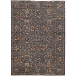 Tommy Bahama Vintage Blue/Gold Wool Area Rug (5'3 x 7'6)