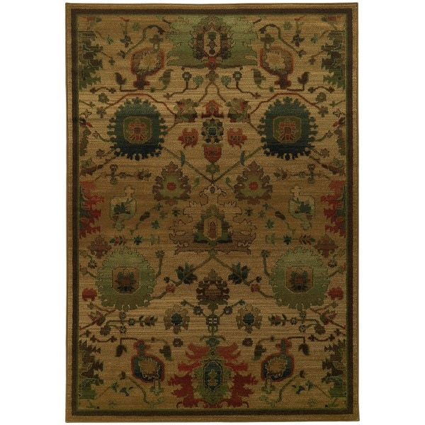 Shop Tommy Bahama Villa Tan Multicolor Wool Area Rug 6 7