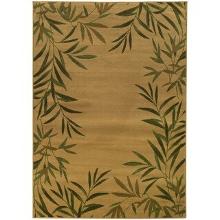 Tommy Bahama Villa Tan/Green Tropical Area Rug (6'7 x 9'6)