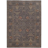 """Tommy Bahama Vintage Blue/Gold Wool Area Rug (6'7 x 9'6) - 6'7"""" x 9'6"""""""