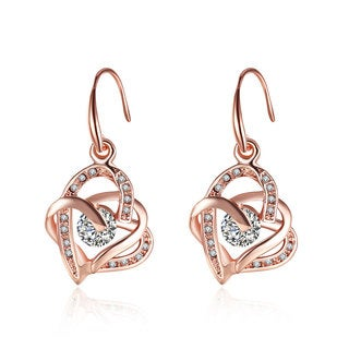 Hakbaho Jewelry Rose Gold Double Hearts Earrings Made with Cubic Zircon