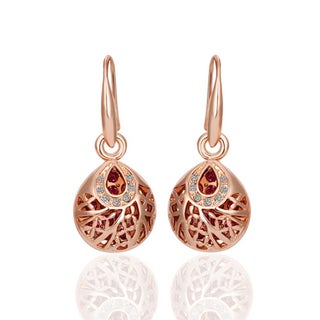 Hakbaho Jewelry Rose Gold Plated Brass Drop Down Laser Cut Circle Cubic Zircon Earrings