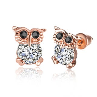 Hakbaho Jewelry Rose Gold Mini Owl Earrings Made with Cubic Zircon