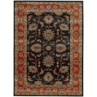 Tommy Bahama Vintage Navy/Red Wool Area Rug (5'3 x 7'6)