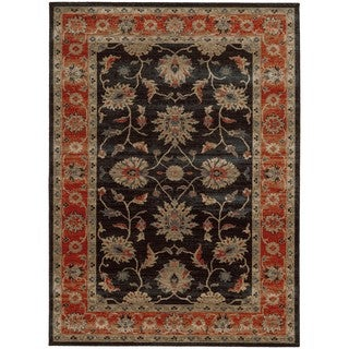 Tommy Bahama Vintage Navy/Red Wool Area Rug - 5'3 x 7'6