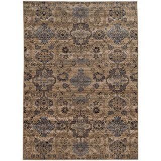 Tommy Bahama Vintage Beige/ Blue Wool Area Rug (5'3x7'6)