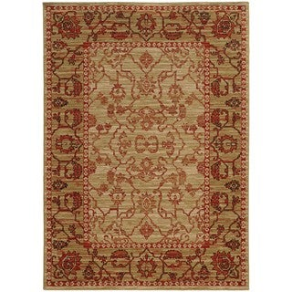 Tommy Bahama Vintage Beige/ Red Wool Area Rug (5'3x7'6)