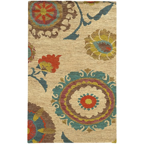 Tommy Bahama Valencia Floral Hand-woven Jute Area Rug