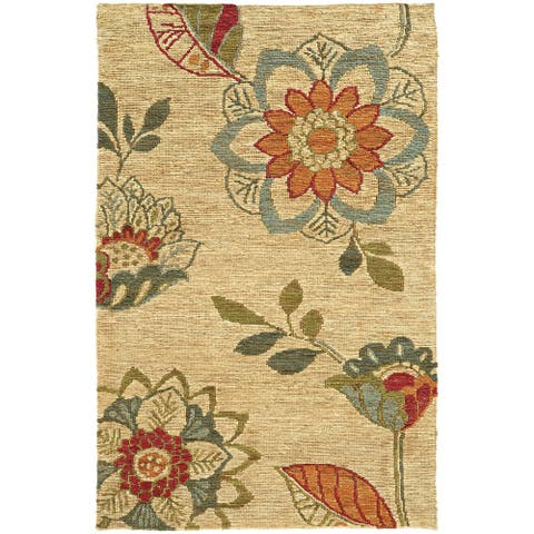 Tommy Bahama Valencia Overscale Floral Hand-woven Jute Area Rug