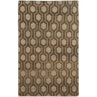 Tommy Bahama Maddox Brown/ Blue Wool Area Rug (5'x8')