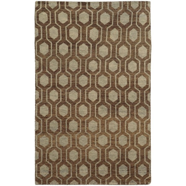 Tommy Bahama Maddox Geometric Odgee Trellis Hand-made Wool Area Rug. Opens flyout.