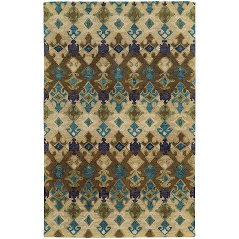 Tommy Bahama Jamison Geometric Tribal Loop-pile Wool Hand-made Rug
