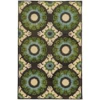 Tommy Bahama Jamison Black/ Green Wool Area Rug - 5' x 8'