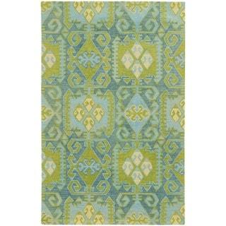 Hand Tufted Geometric Pattern Blue Green Wool Area Rug 5