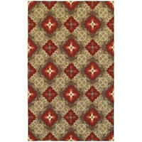 Tommy Bahama Atrium Brown/ Red Area Rug - 5'x8'