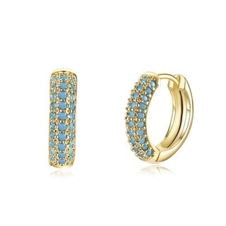 Hakbaho Jewelry Gold Plated Brass Semi Precious Blue Cubic Zircon Pave Earrings