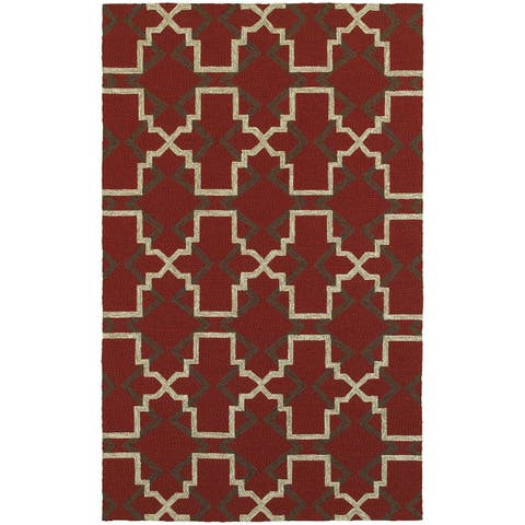 Tommy Bahama Atrium Red/ Brown Area Rug (5'x8') - 5' x 8'