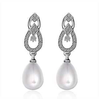 Hakbaho Jewelry Cultured Faux Pearl Duo Overlaping Dangling Earrings