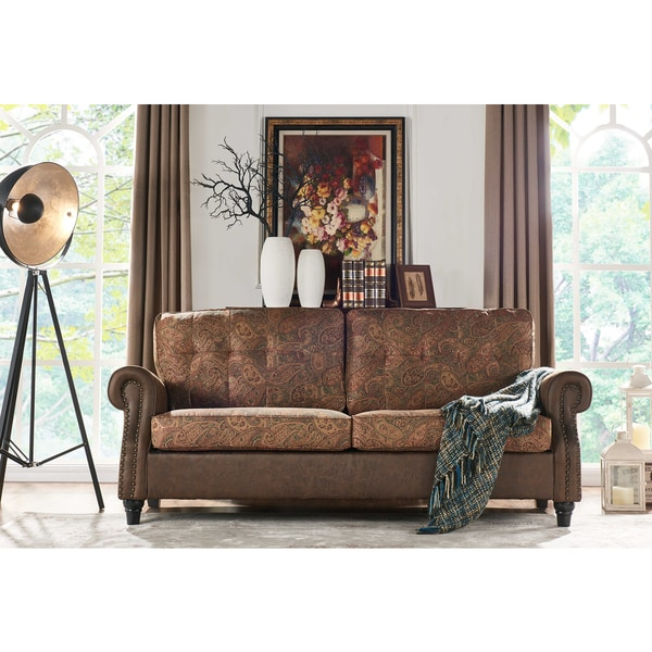 Handy Living Victoria SoFast Sofa In A Mix Of Paisley Fabric And Saddle Brown Distressed Faux
