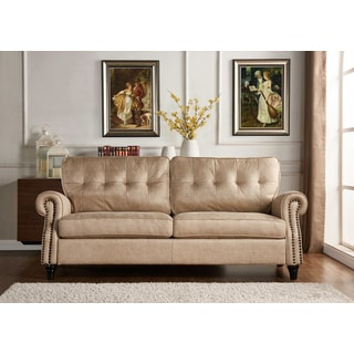 Handy Living Victoria SoFast Sofa in Tan Distressed Faux Leather