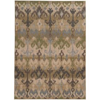 Tommy Bahama Beige/ Blue Wool Area Rug (6'7x9'6)