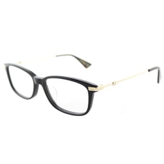 Gucci GG 0112OA 001 Asian Fit Black Gold Plastic Rectangle Eyeglasses 53mm