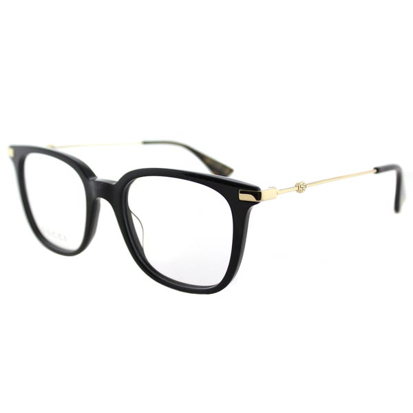 2bd68cb073 Shop Gucci GG 0110O 001 Black Gold Plastic Square Eyeglasses 49mm ...