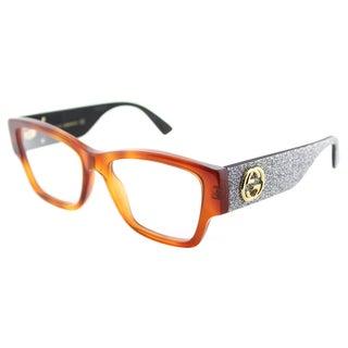 Gucci GG 0104O 004 Light Havana Plastic Rectangle Eyeglasses 51mm