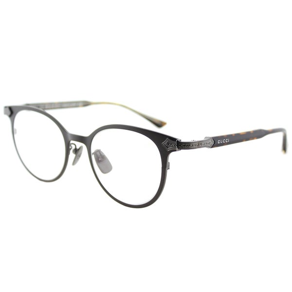 62f97286eff Gucci GG 0068O 002 Brown Ruthenium Titanium 49mm Round Eyeglasses