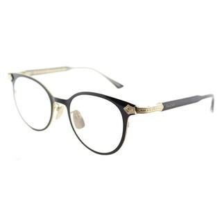 Gucci GG 0068O 001 Black Gold Titanium 49mm Round Eyeglasses