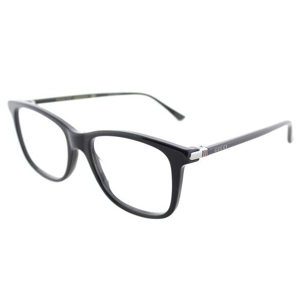 b719905aed7 Shop Gucci Unisex GG 0018O 001 Black 52-millimeter Square Eyeglasses ...